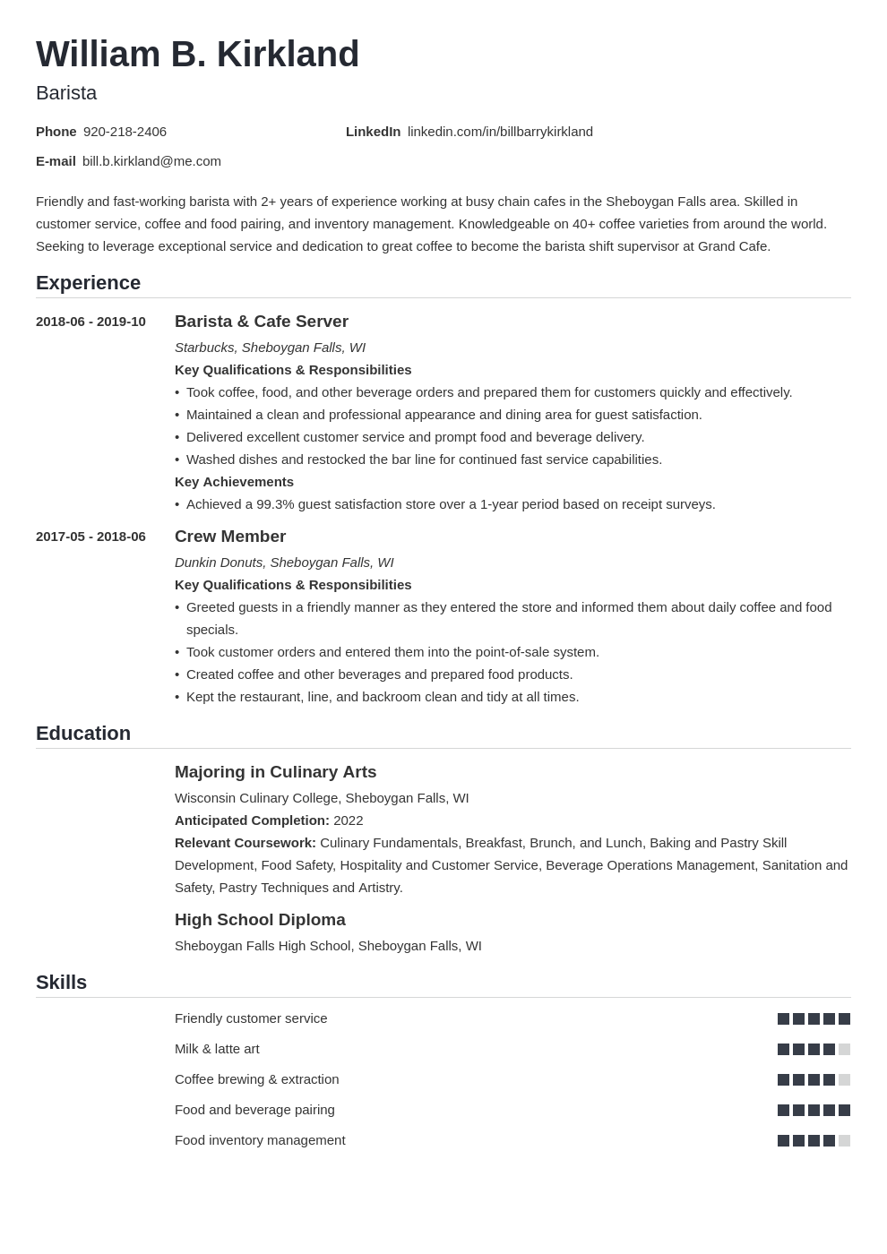 barista resume example template nanica