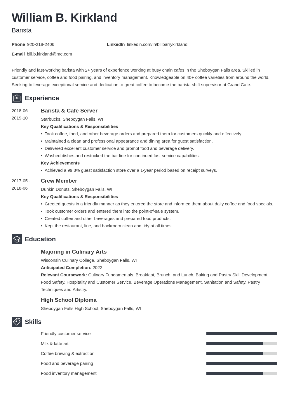 barista resume example template newcast
