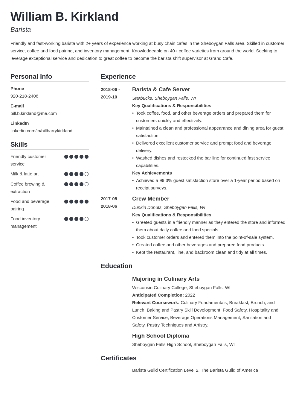 barista resume example template simple