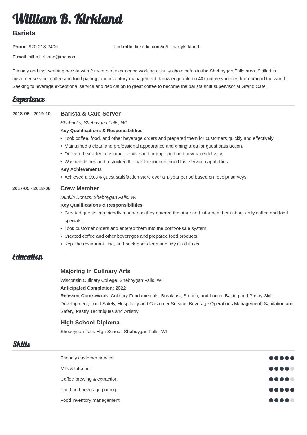 barista resume example template valera