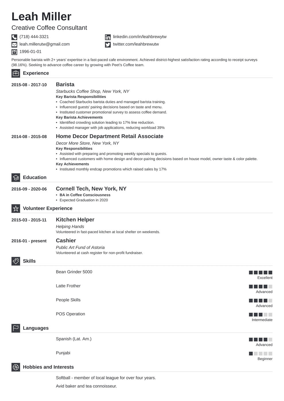 Barista Resume: 20+ Examples of Job Descriptions & Skills
