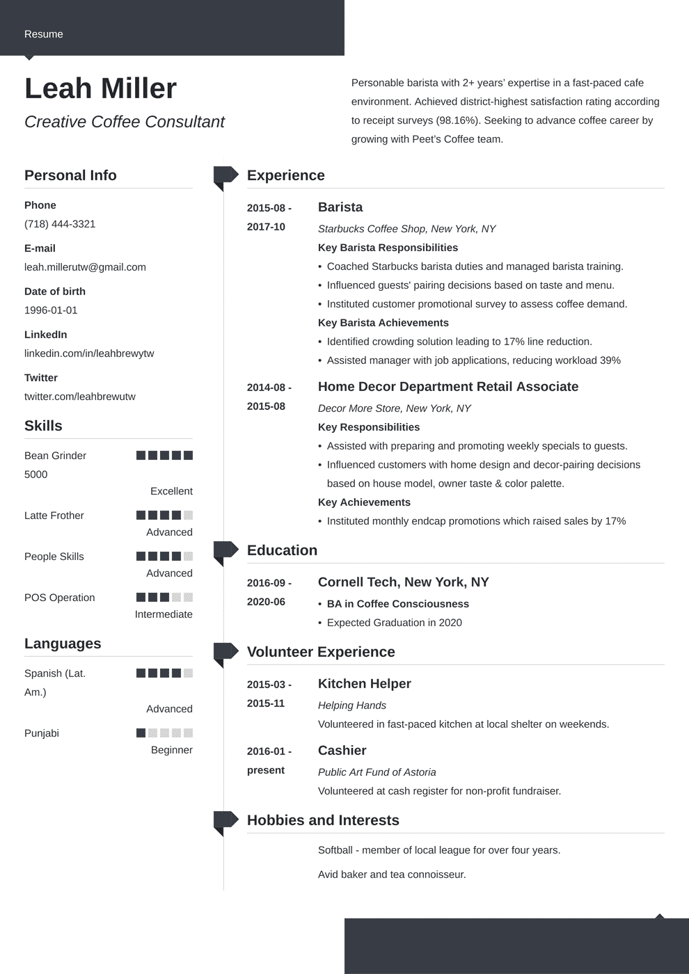 Barista Resume Sample And Complete Guide 20 Examples