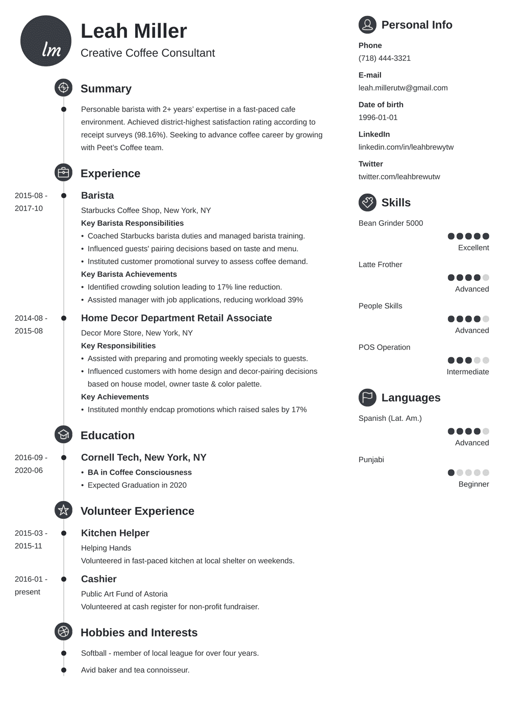 Barista Resume 20 Examples Of Job Descriptions Skills