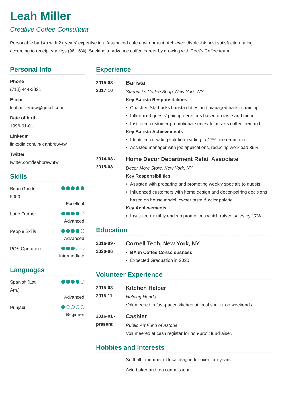 cover letter for starbucks barista no experience