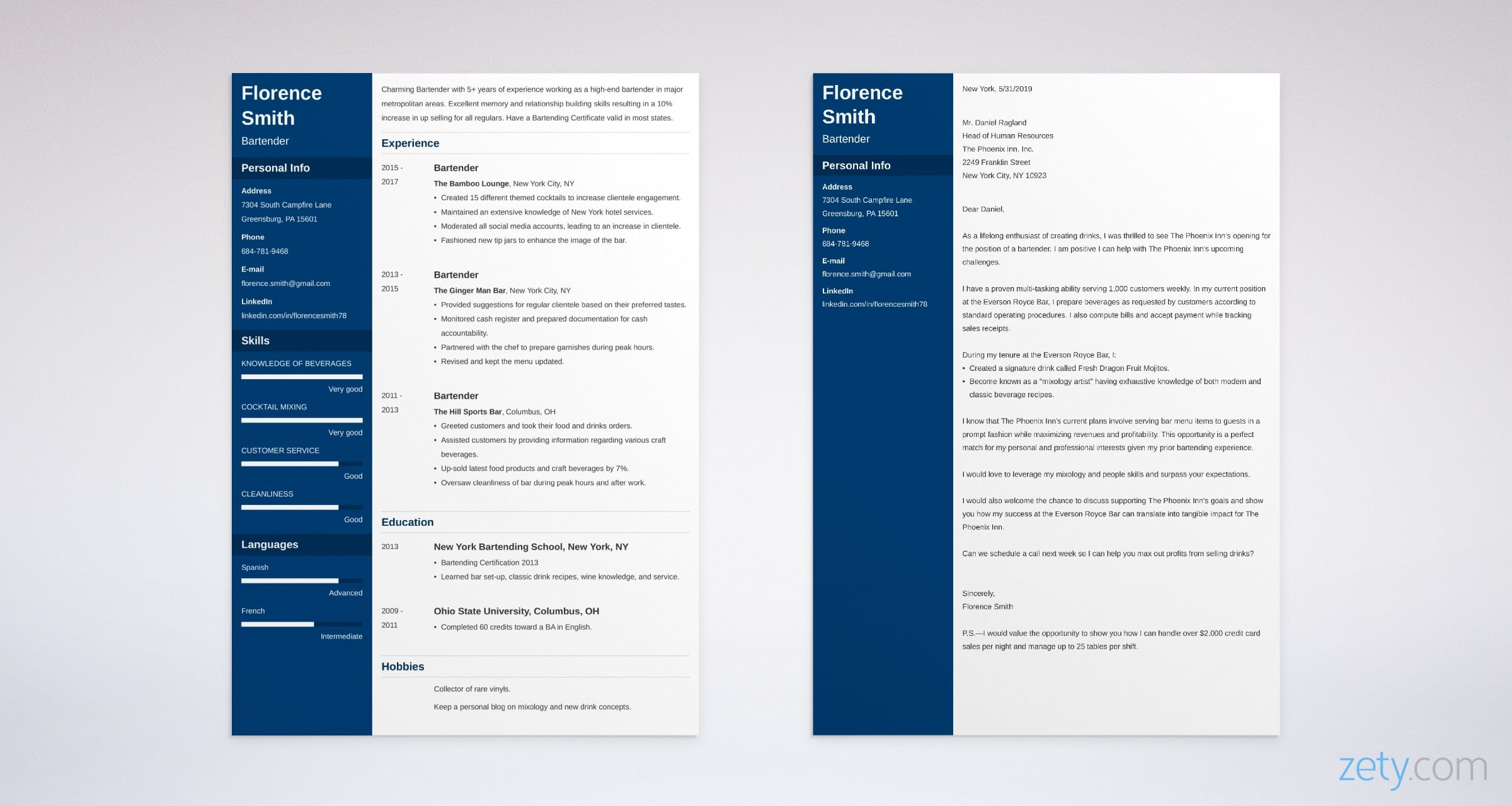 bartender resume and cover letter set