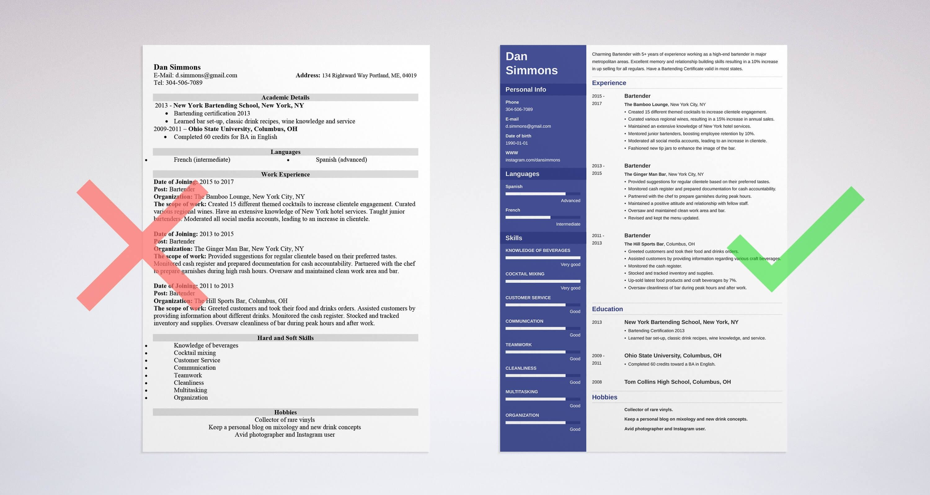 bartender resume sample complete guide 20 examples - New Bartender Resume