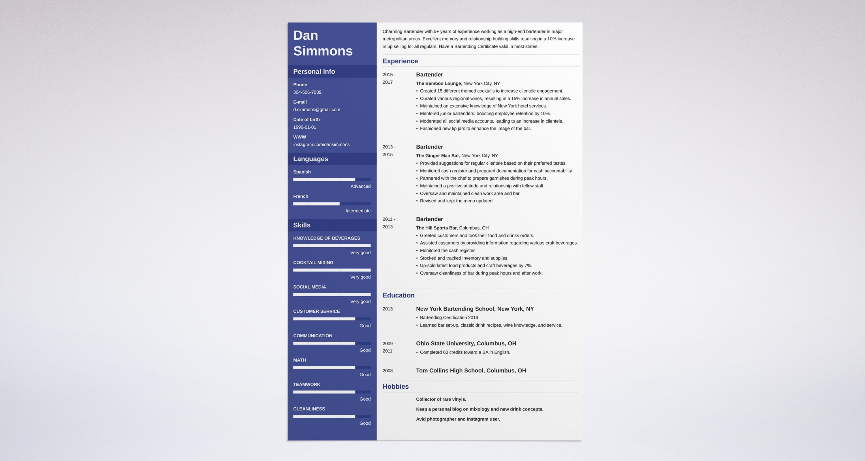 Bartender resume sample complete guide 20 examples for Bartender schedule template