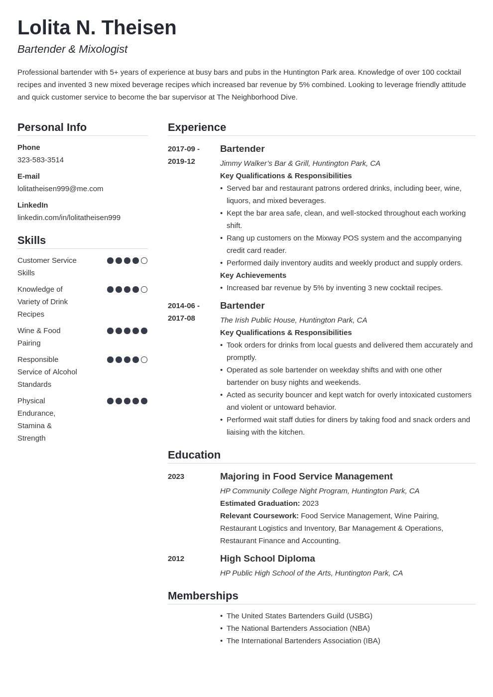 Bartender Resume: Sample & Complete Guide [+20 Examples]