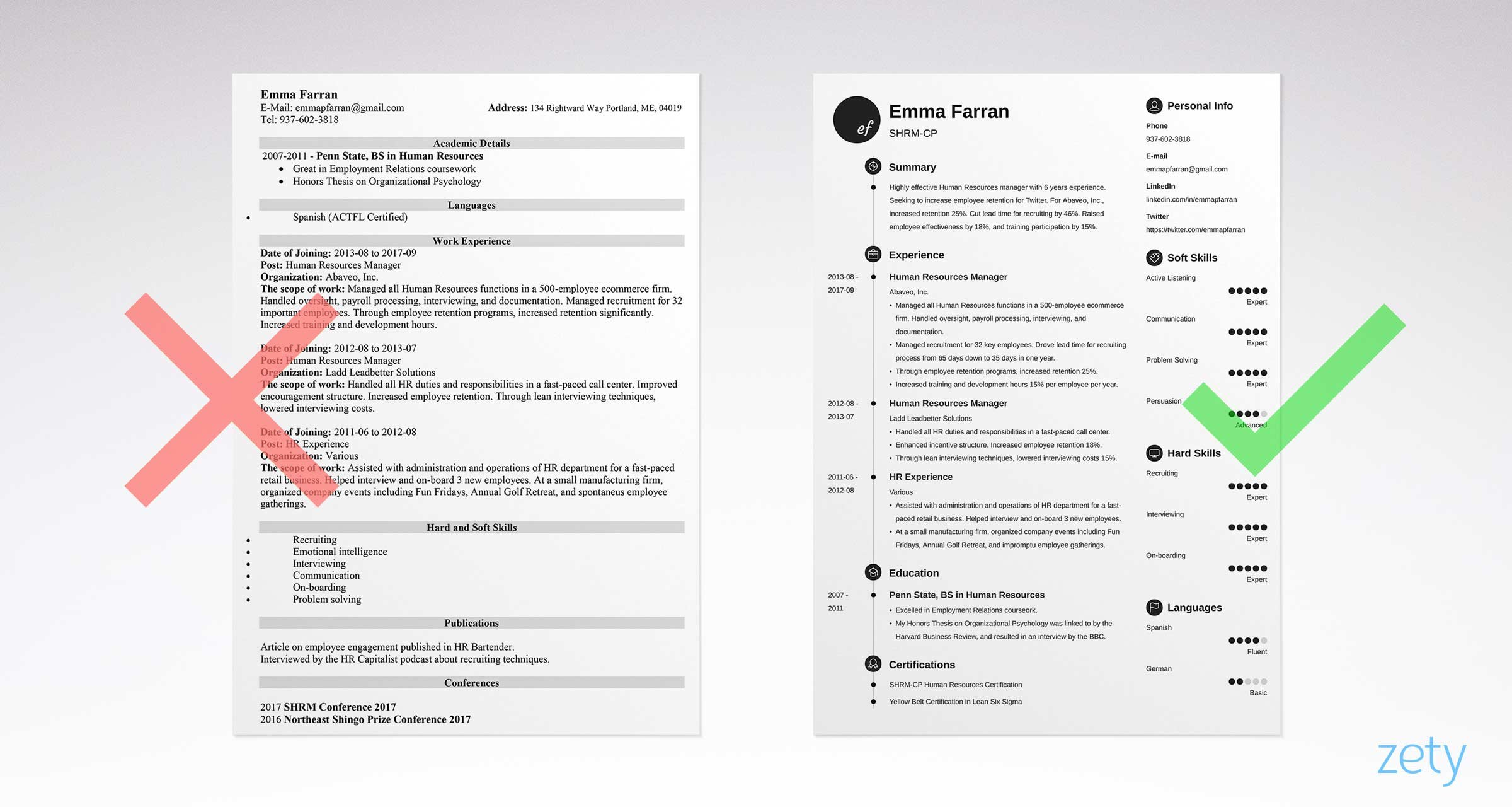 Charming Right And Wrong Basic Resume Examples Comparison Intended For Example Basic Resume