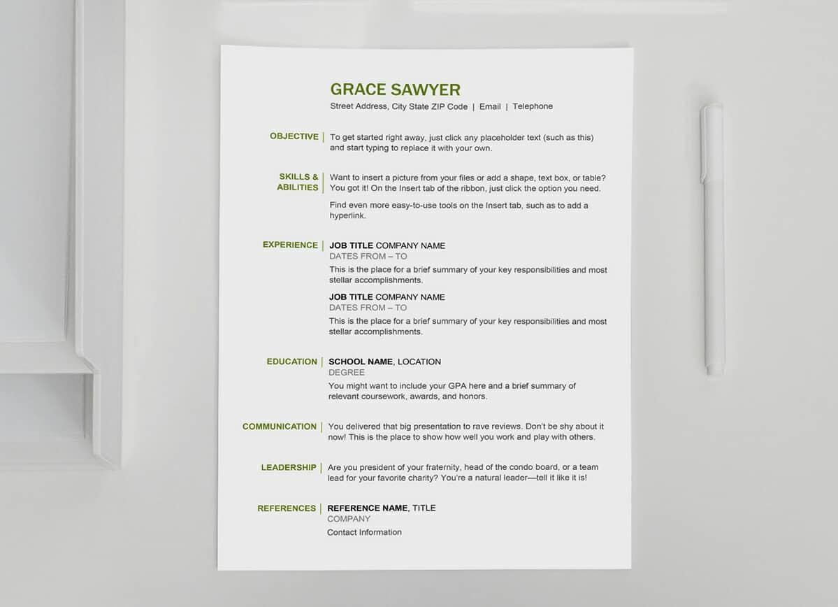 Free Basic Resume Template With Olive Green Accents