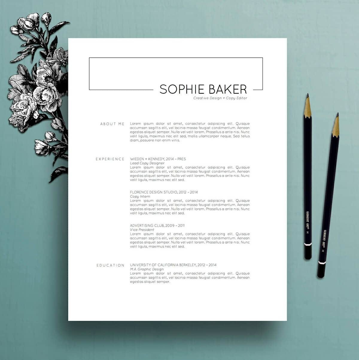 basic job resume template with large header