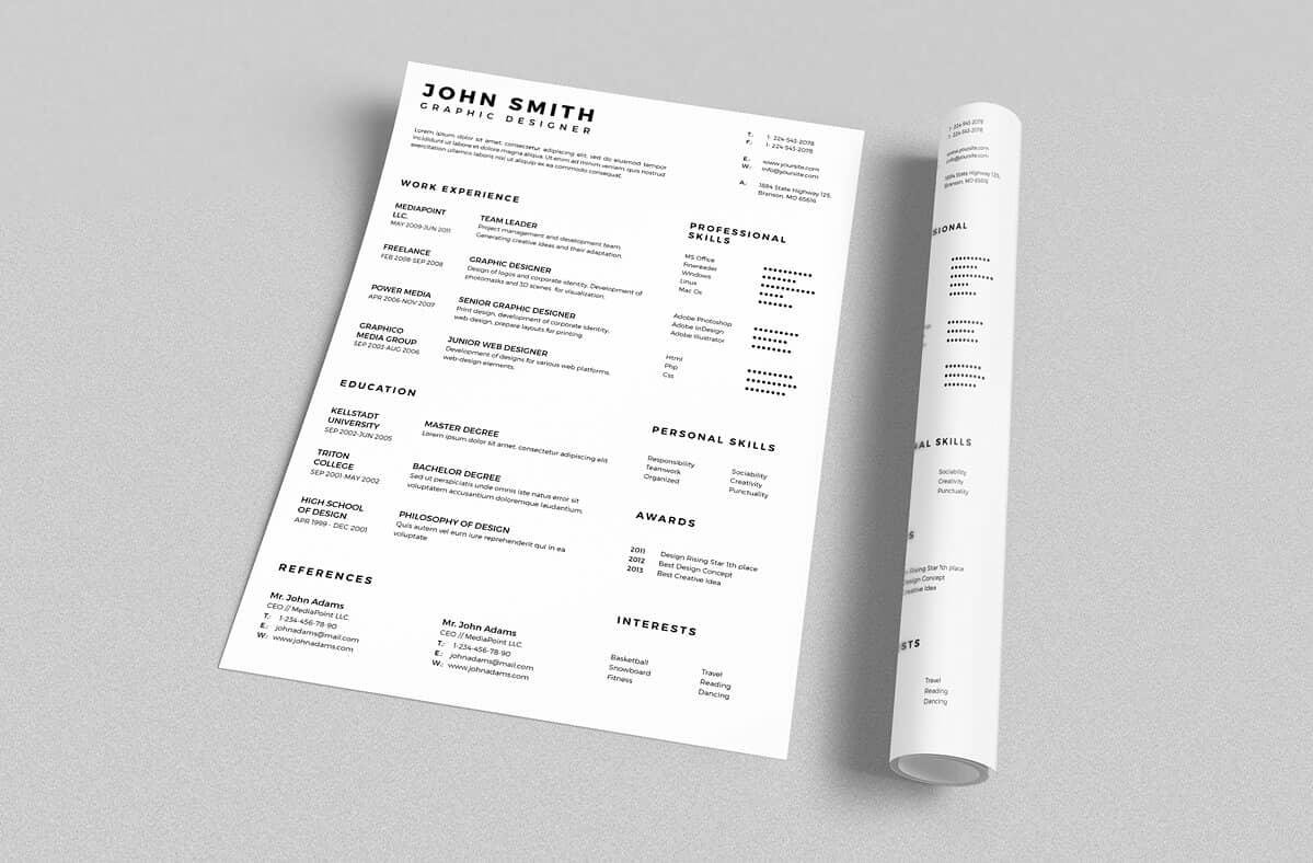 example of resume basic template with three columns