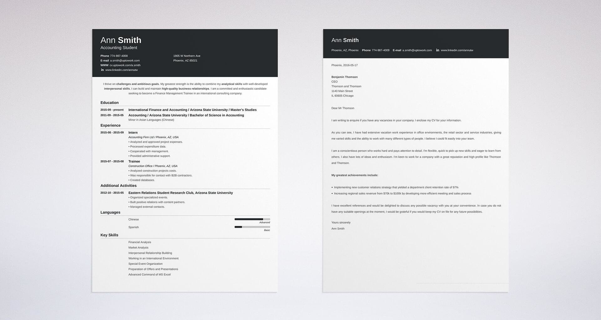 Perfect Matching Cover Letter And Resume Templates Ideas
