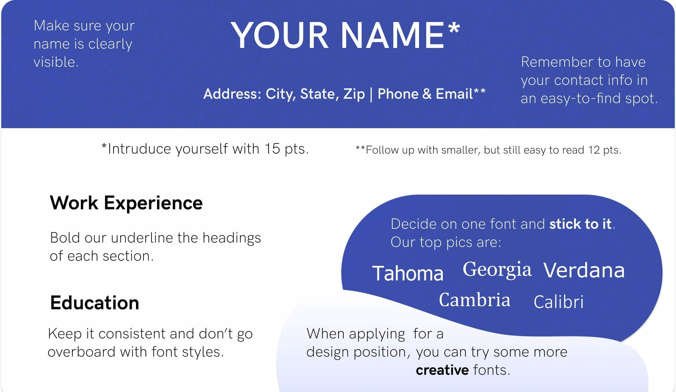 Best Font For Resume Size Standard Professional Pairings