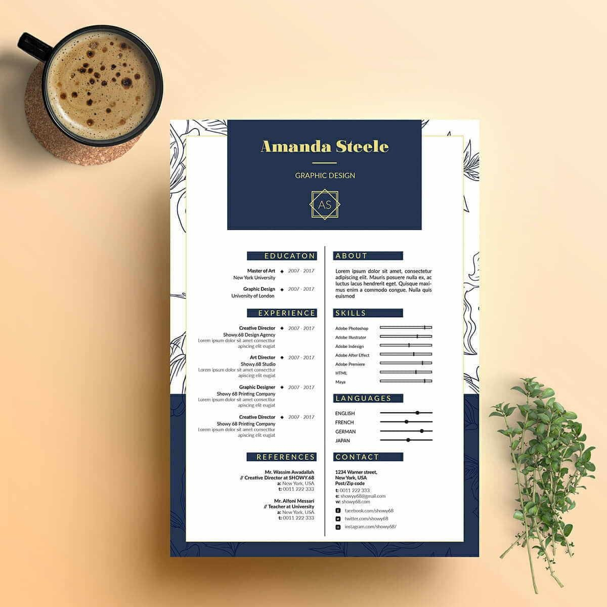 navy blue best looking resume template with floral margins
