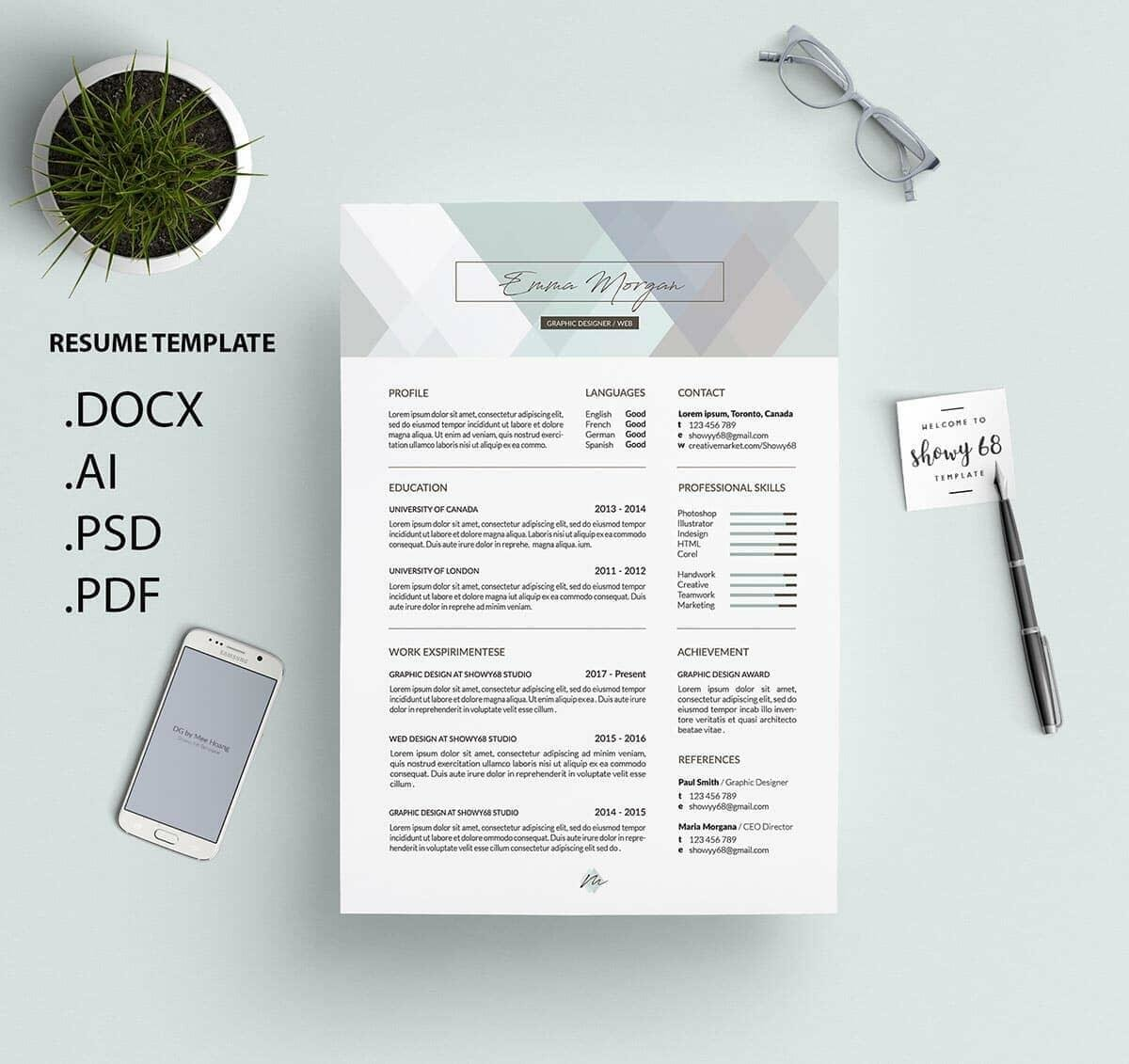 Best Resume Format Template With Pastel Geometric Header. U201c