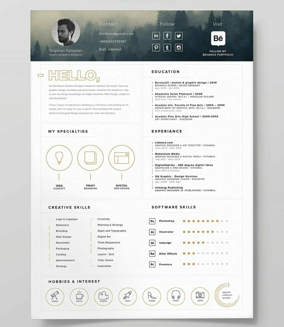 Lovely Best Free Resume Template With Creative Header And Gold Icons