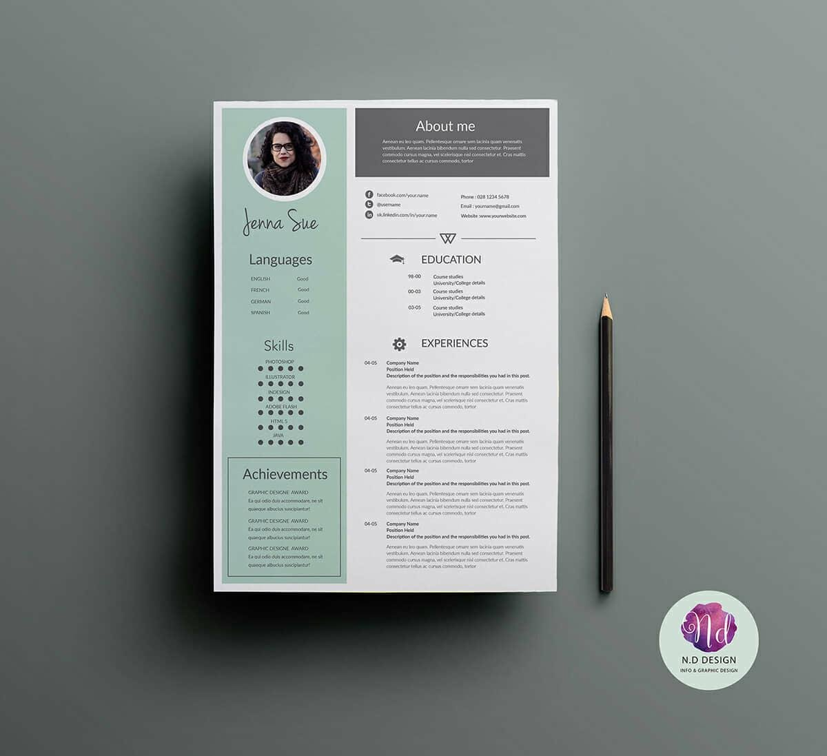 best resume template with achievements section and mint sidebar