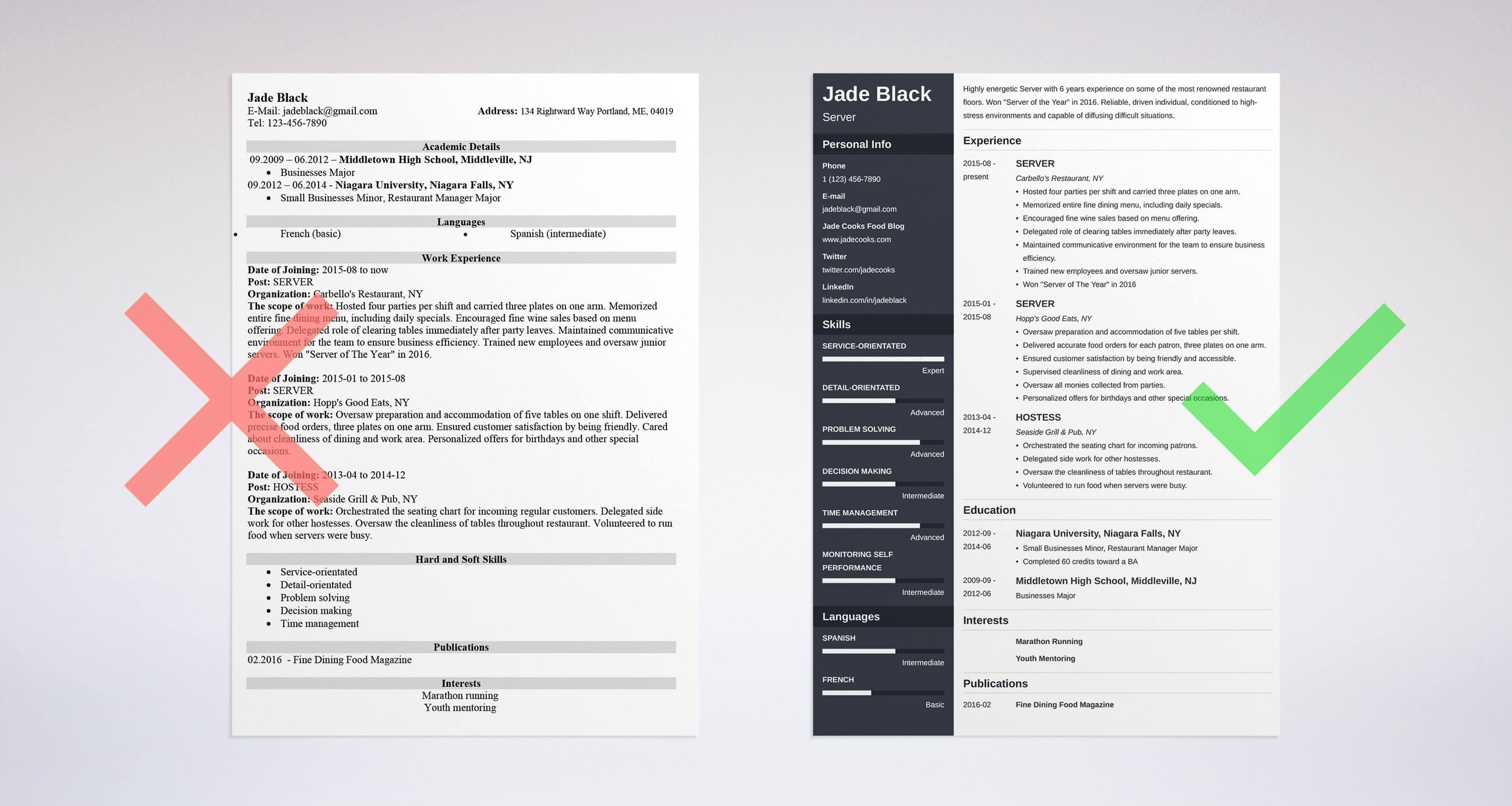 Beautiful Server Resume Sample