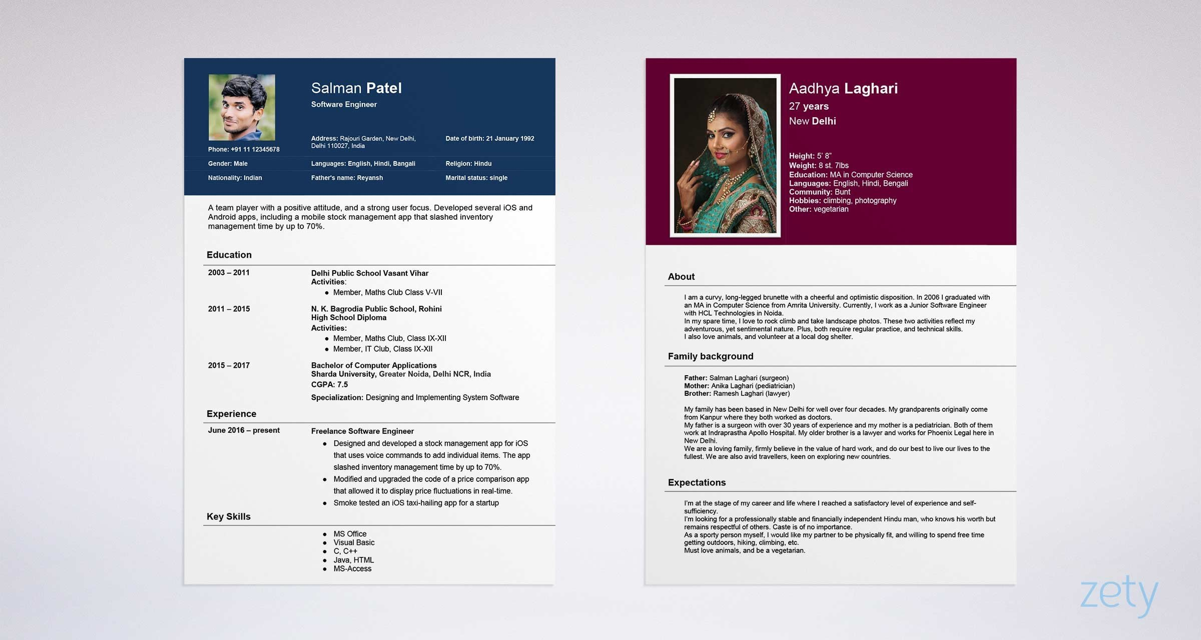 sample biodata format for marriage  u0026 a job  ms word form