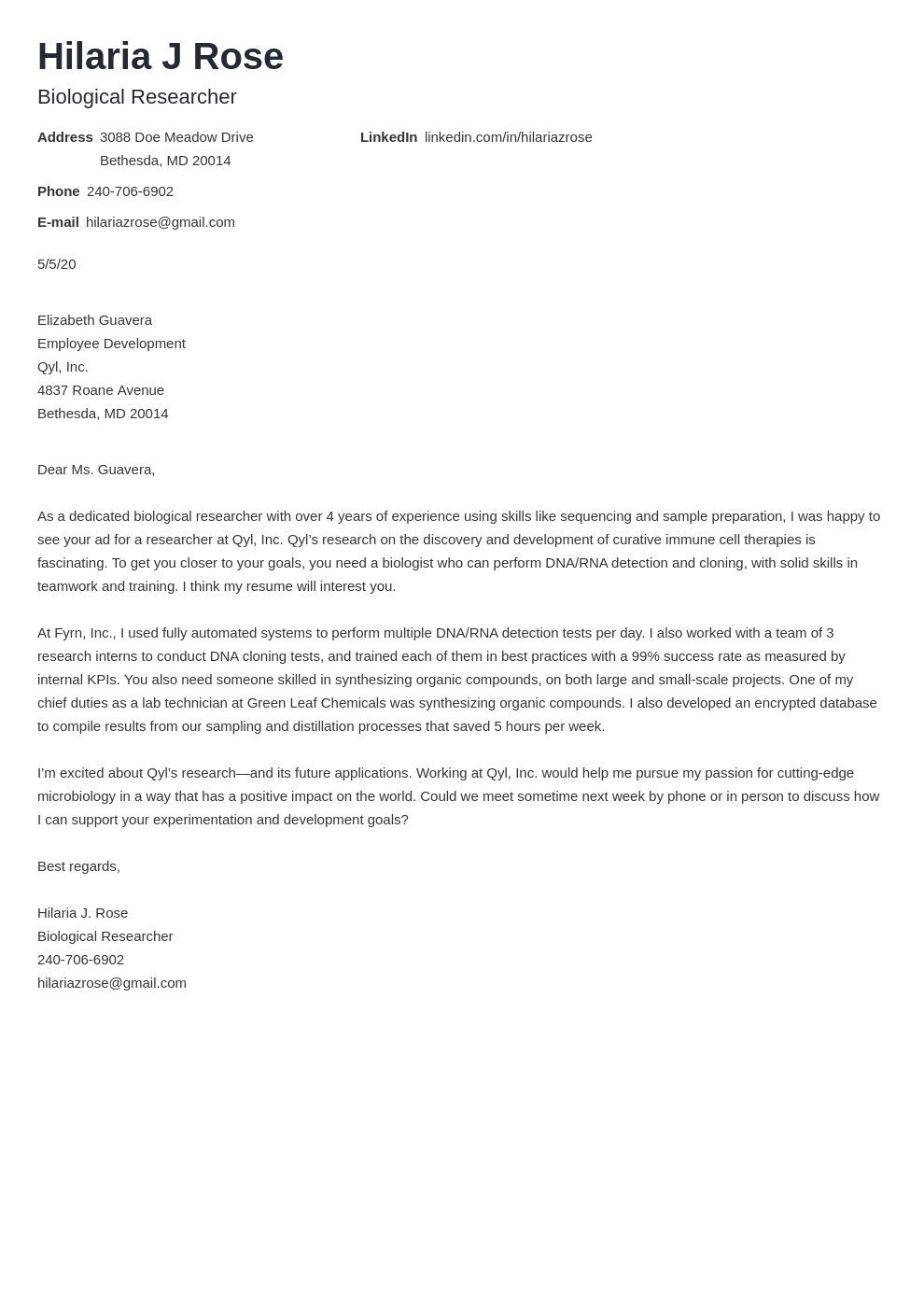 Biology Cover Letter Examples