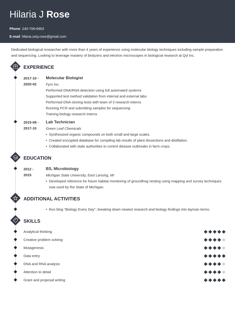biology resume example template diamond