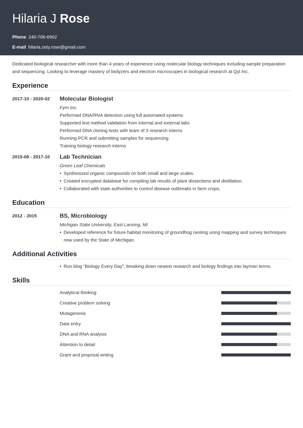 biology resume example template influx