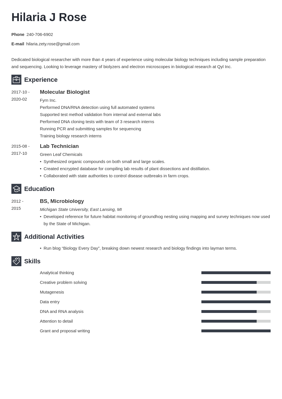 biology resume example template newcast
