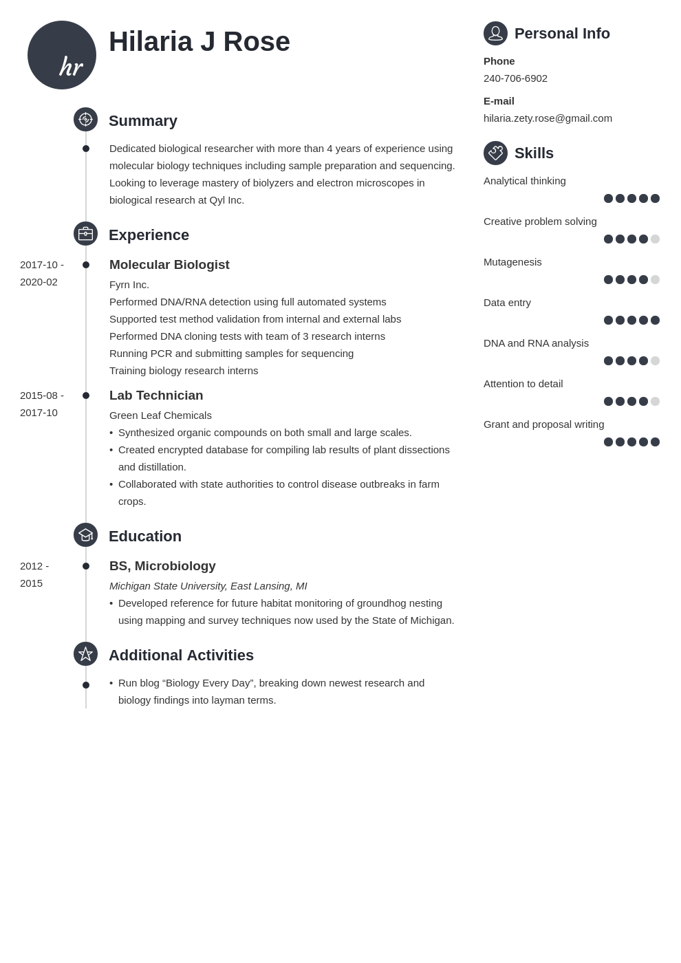 Biology Resume Examples Also For Entry Level Biologists