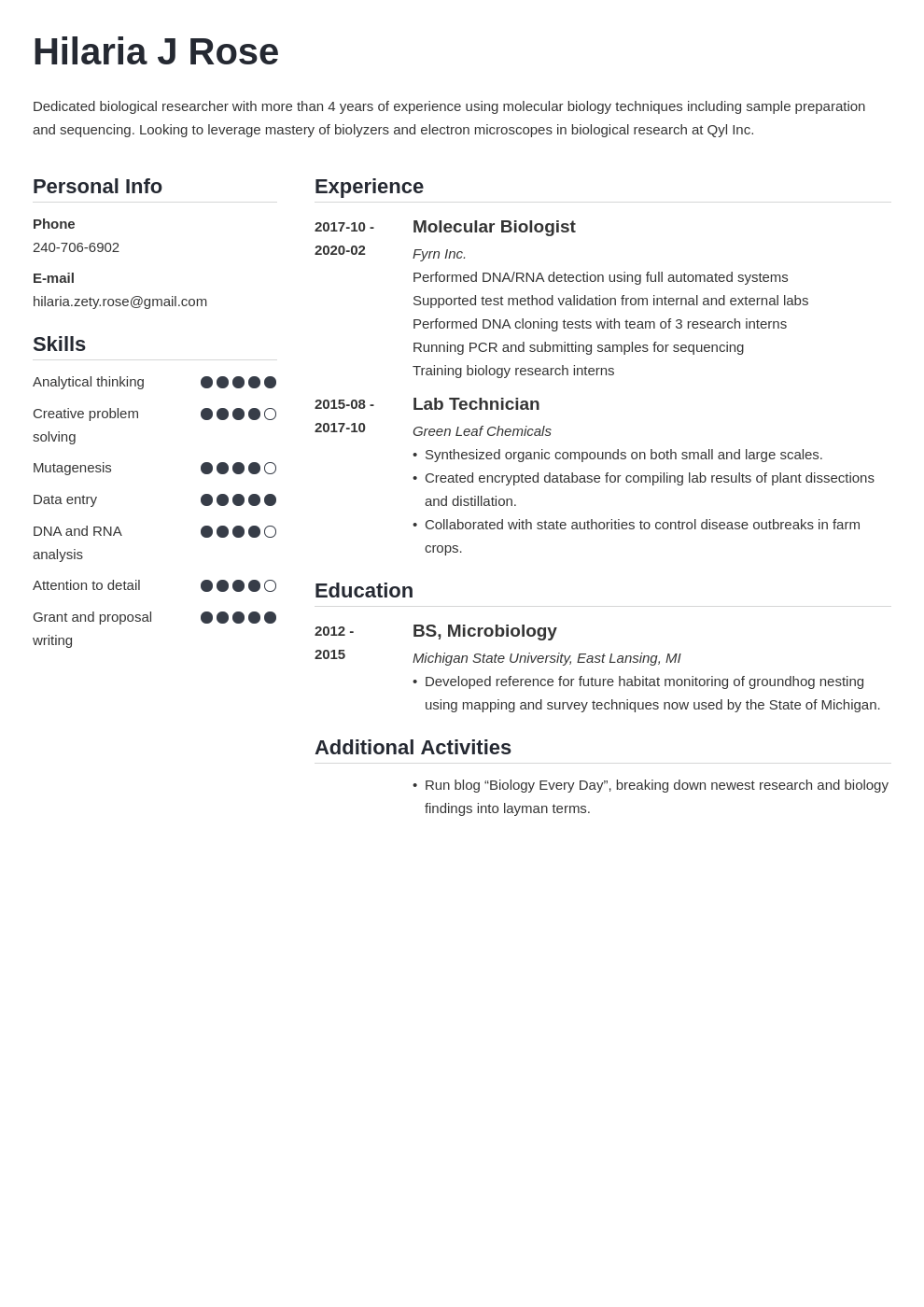 biology resume example template simple