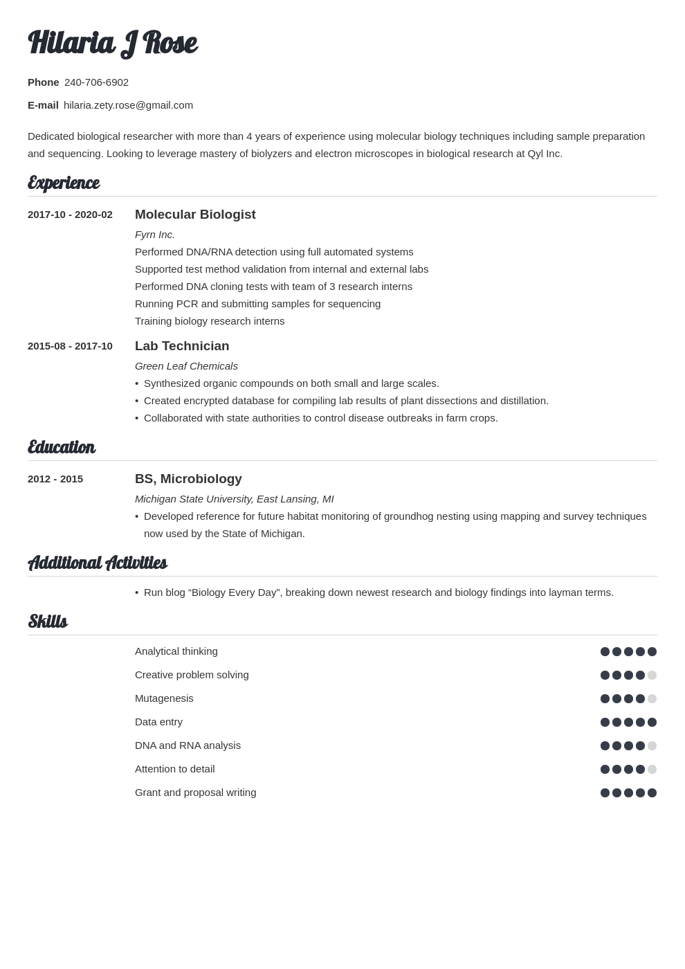 biology resume example template valera