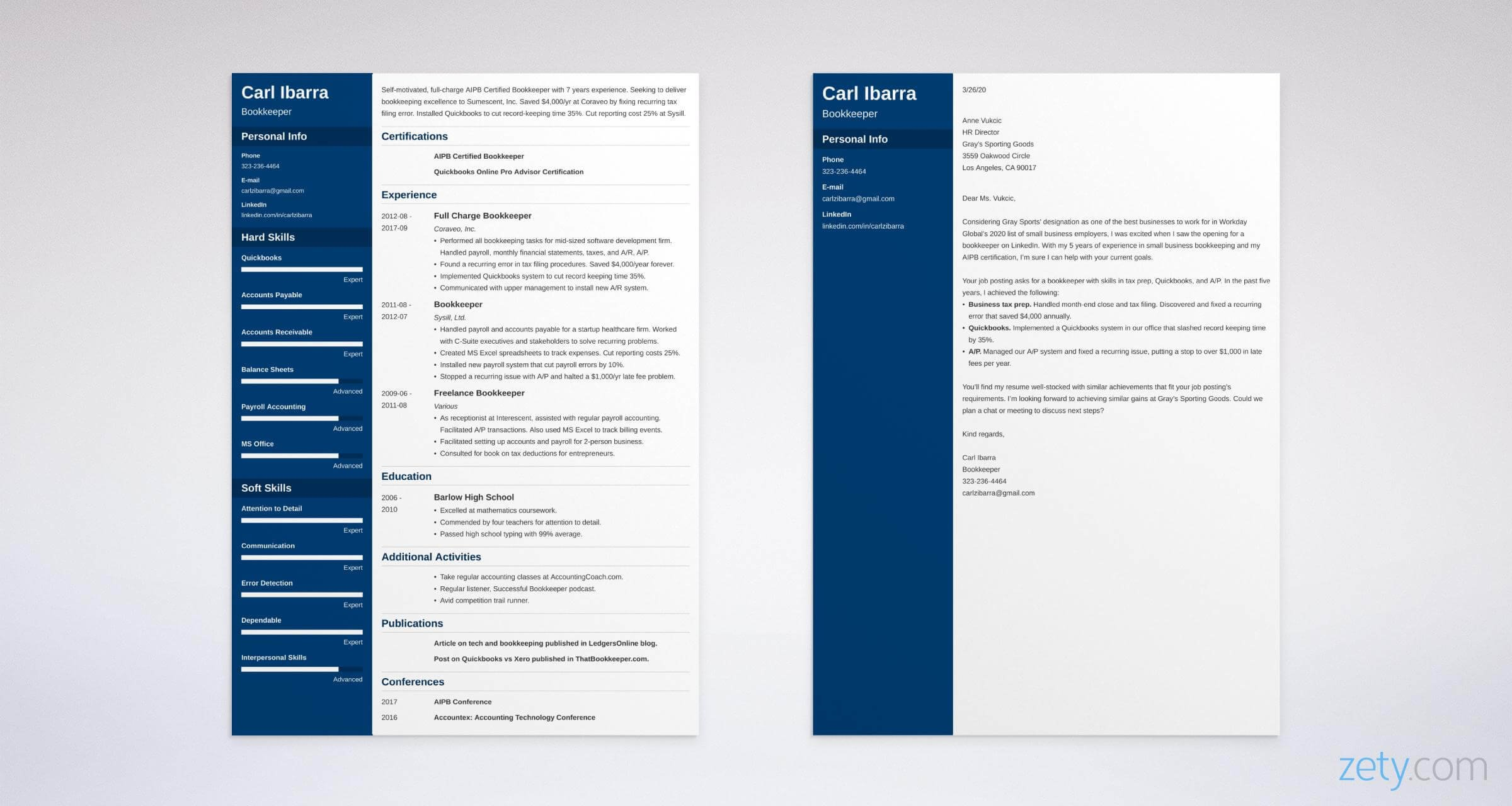 bookkeeper resume and cover letter set