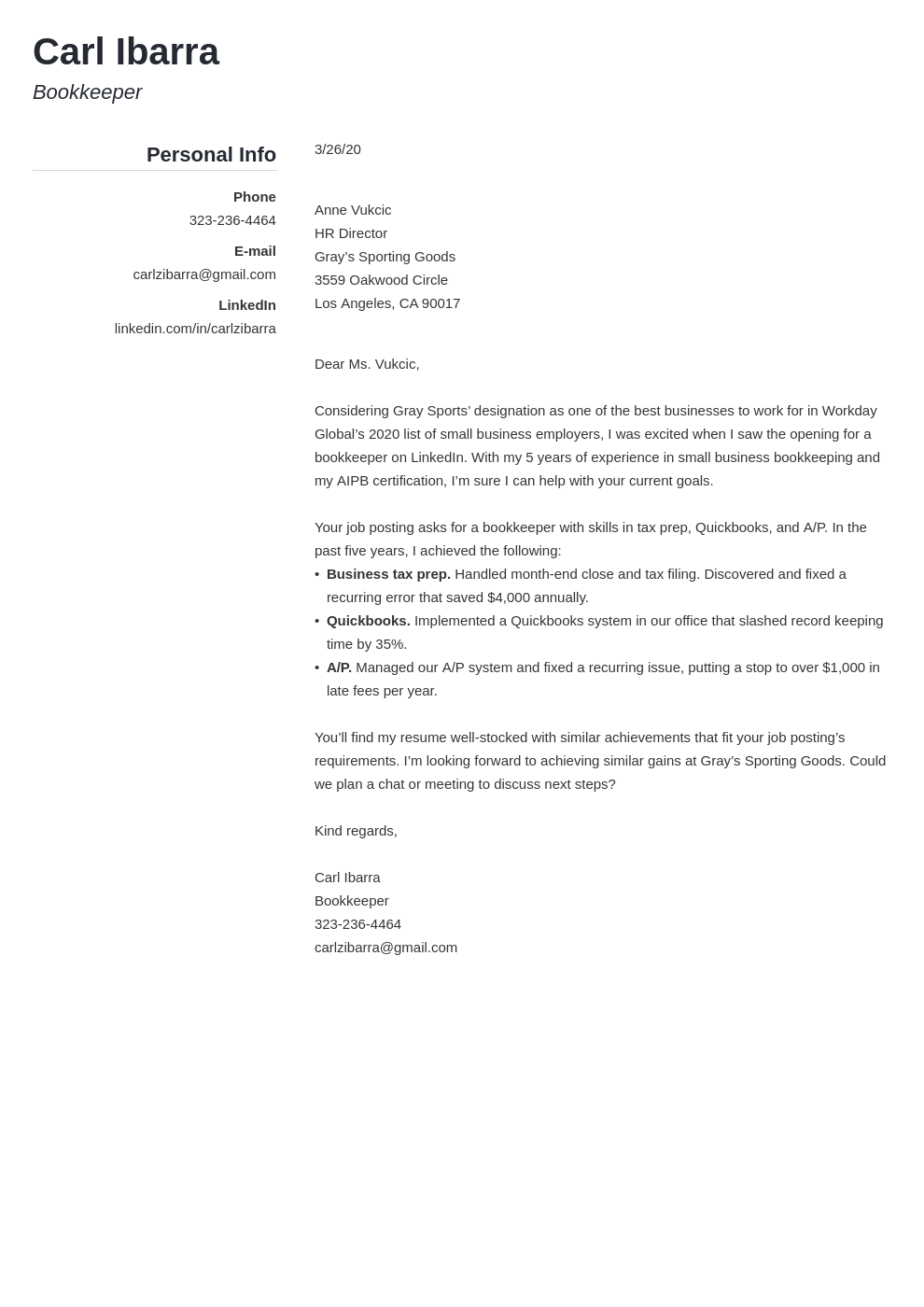 Bookkeeper Cover Letter Sample Format Writing Guide