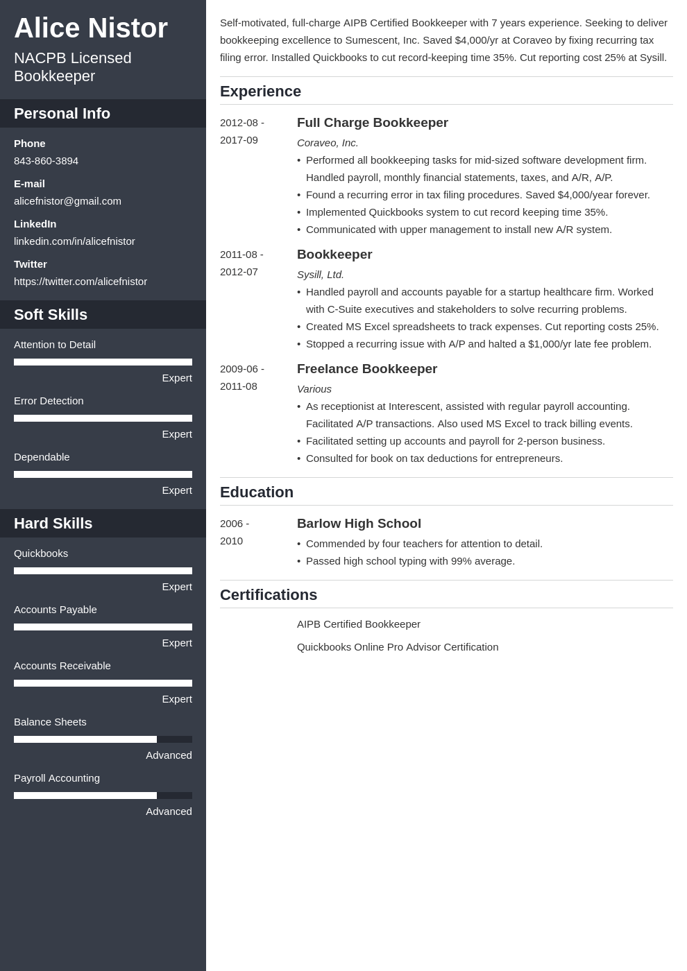 bookkeeper resume example template cascade