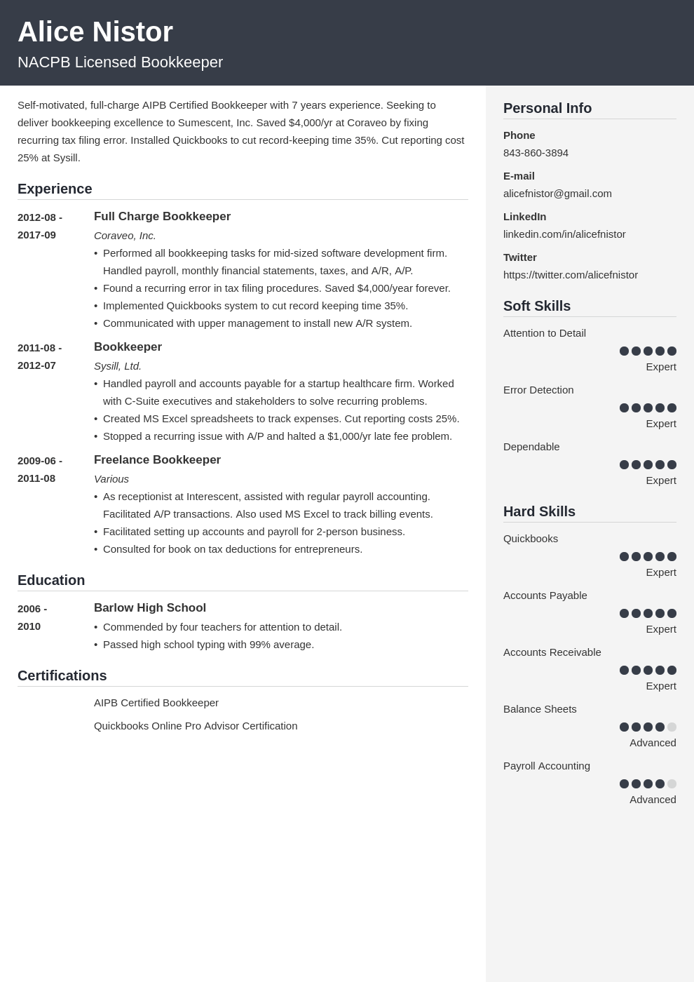 bookkeeper resume example template cubic
