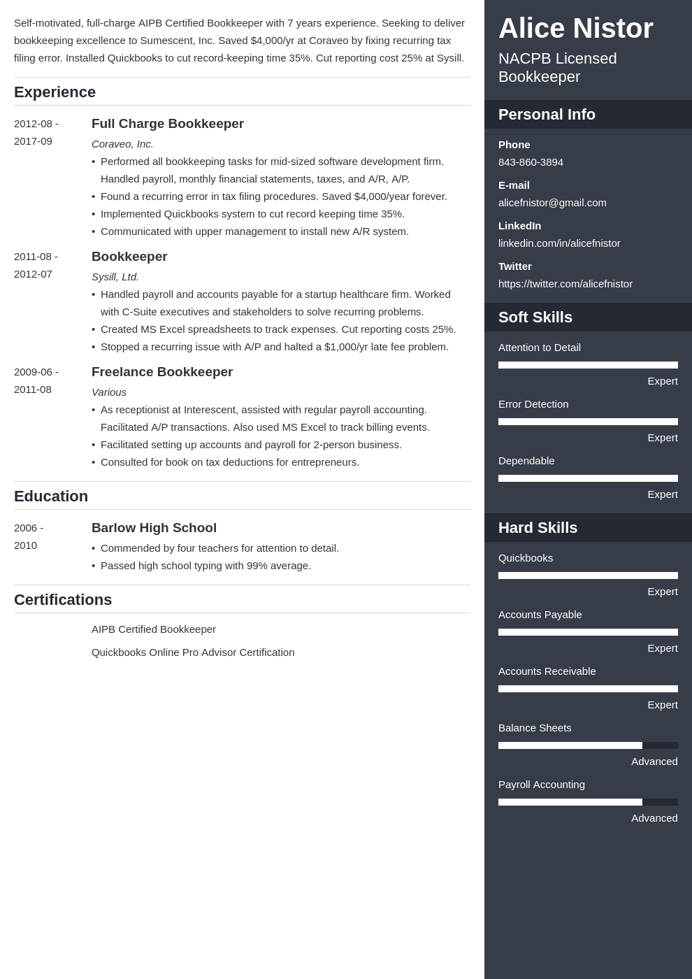 bookkeeper resume example template enfold