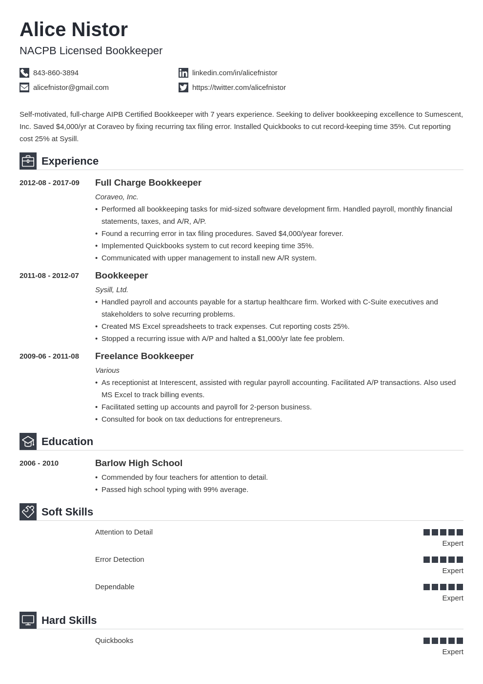 bookkeeper resume example template iconic