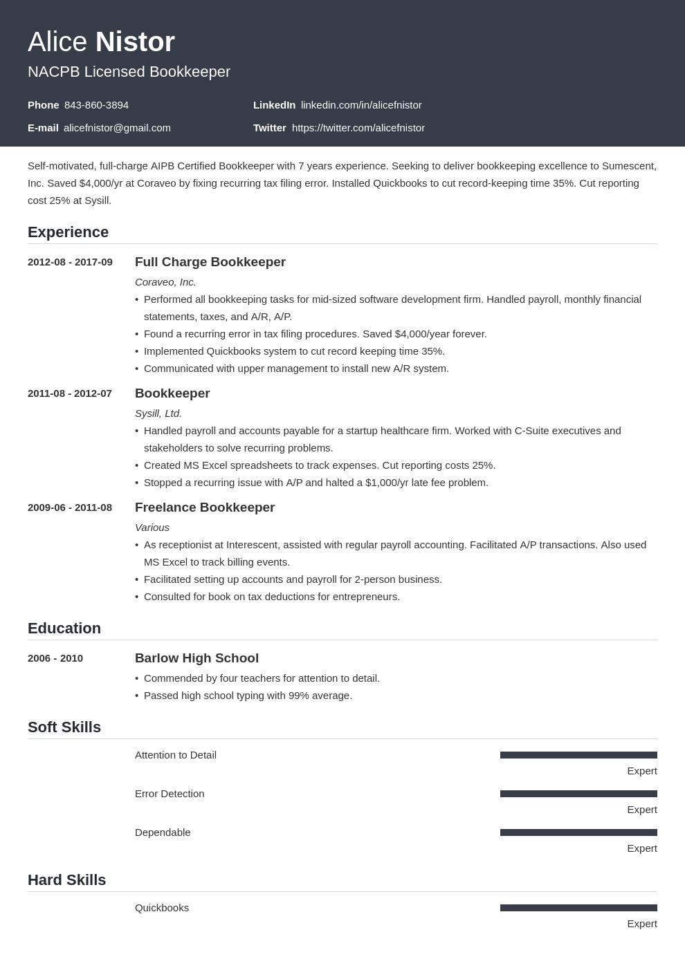 bookkeeper resume example template influx