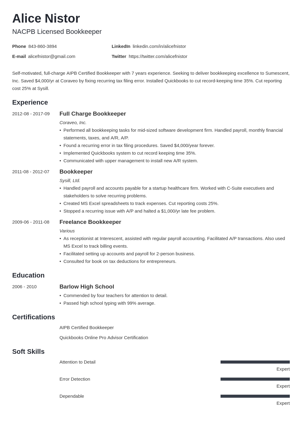 bookkeeper resume example template minimo