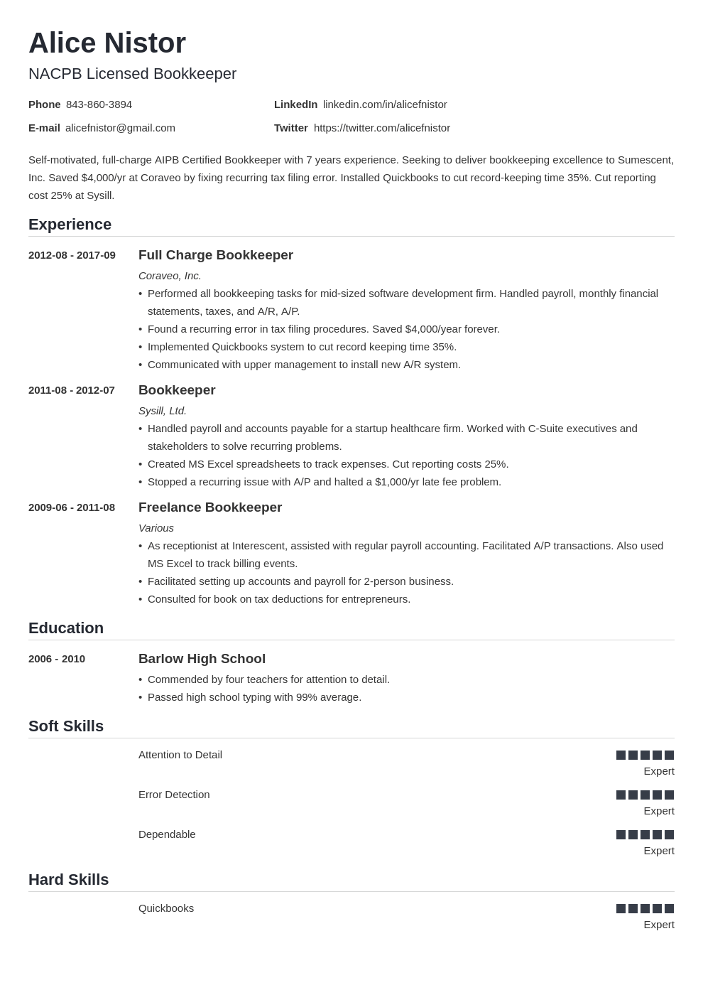 bookkeeper resume example template nanica