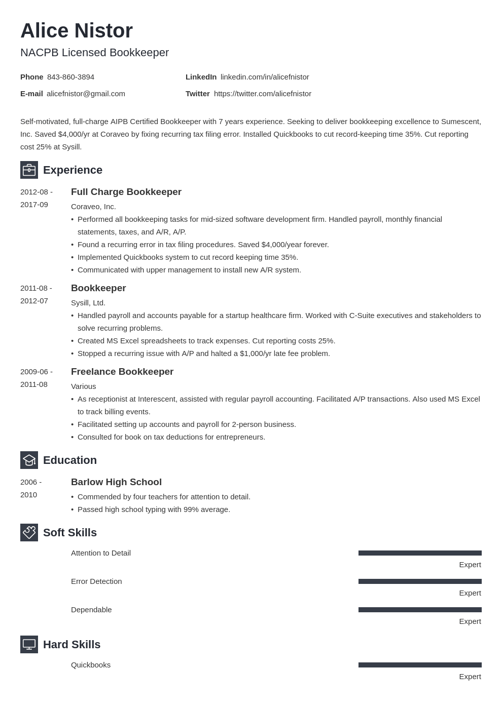 bookkeeper resume example template newcast