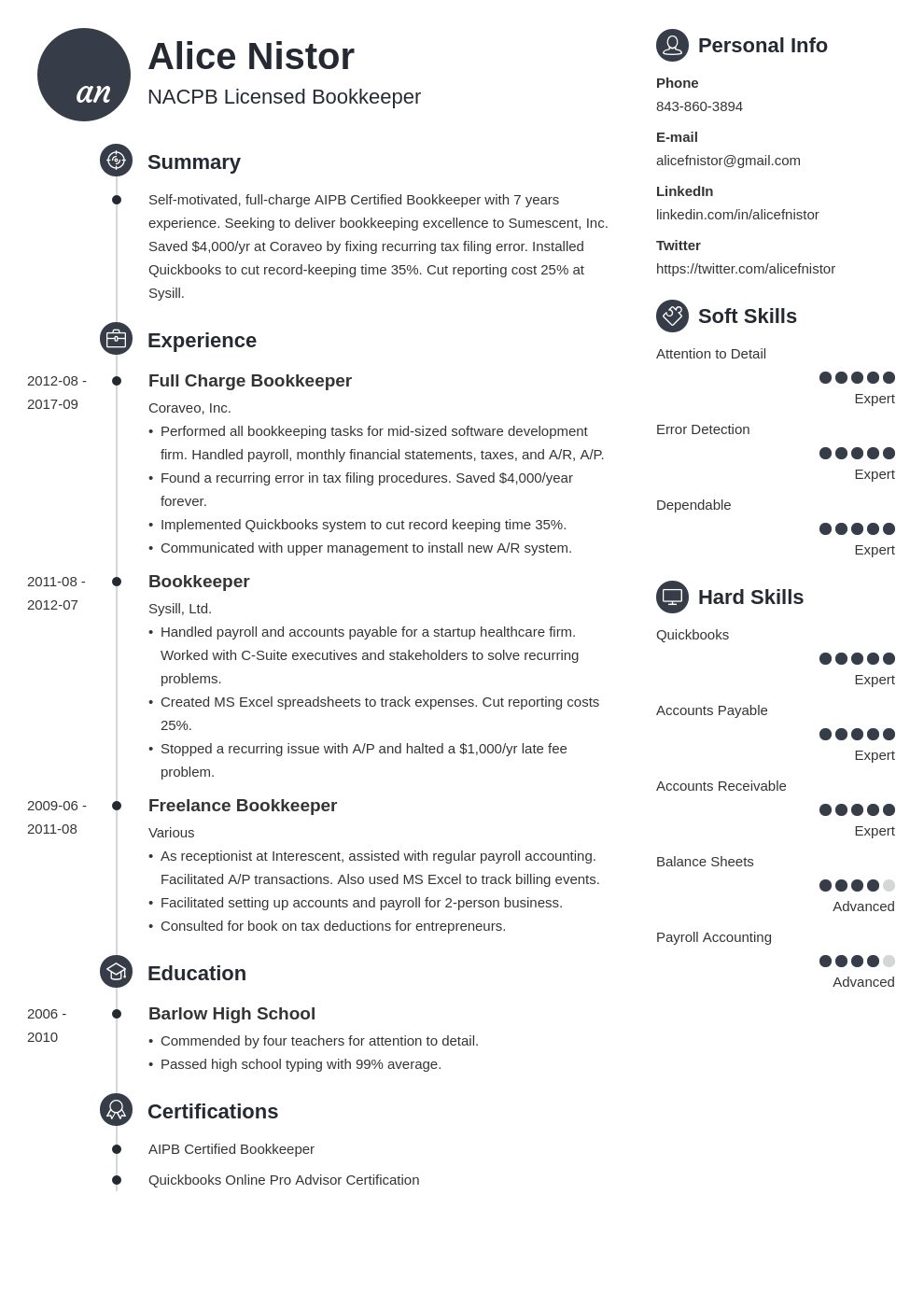 bookkeeper resume example template primo
