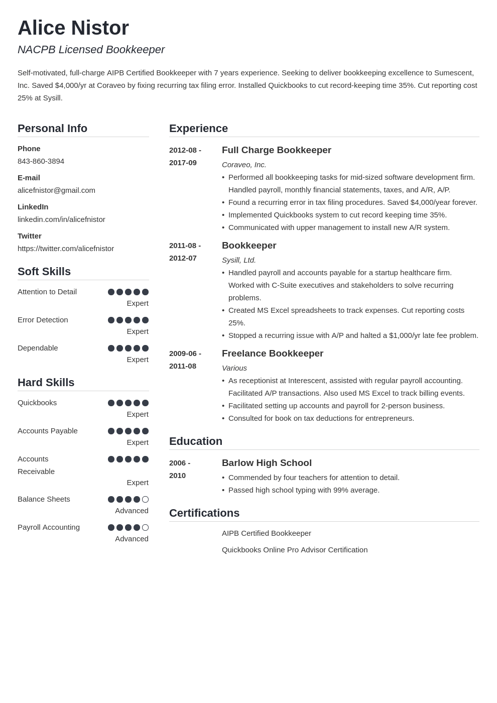 bookkeeper resume example template simple