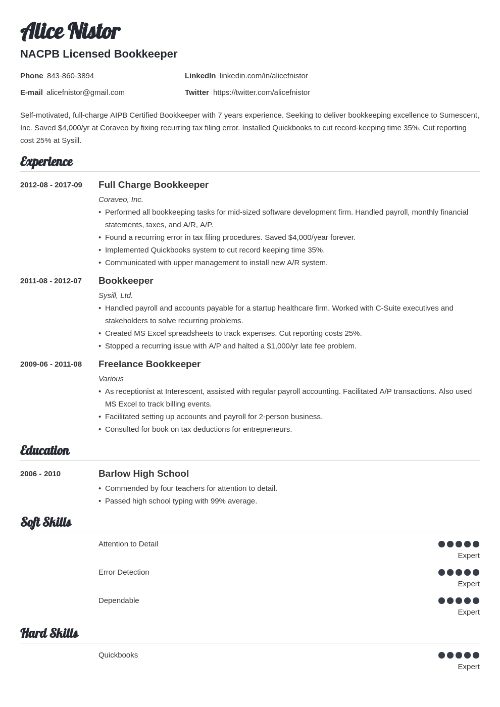 bookkeeper resume example template valera