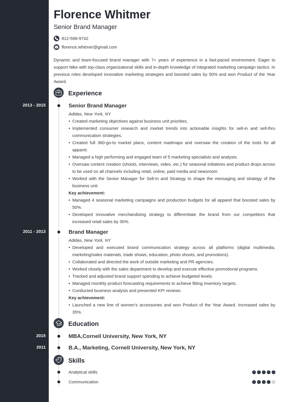 brand manager resume example template concept
