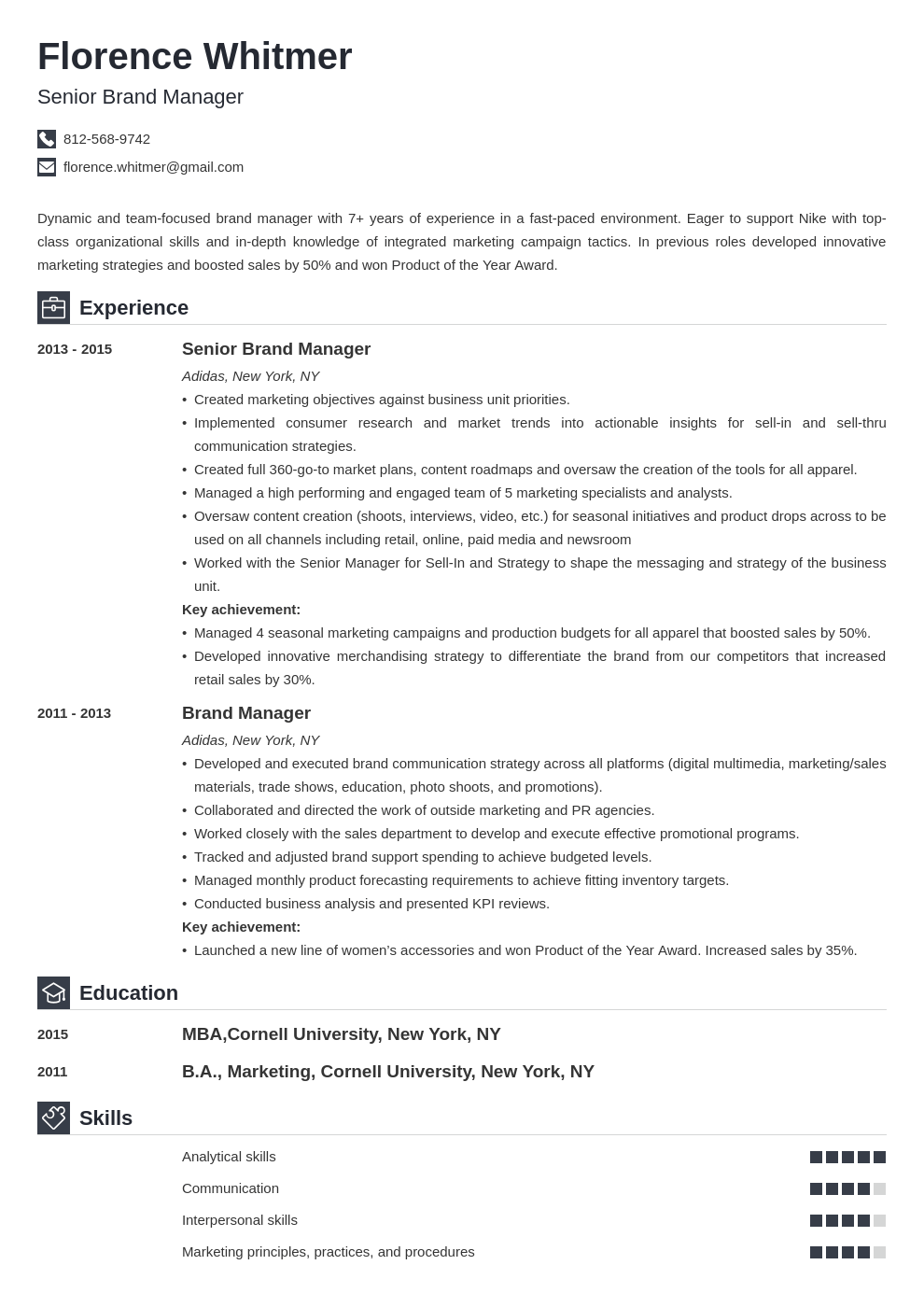 brand manager resume example template iconic