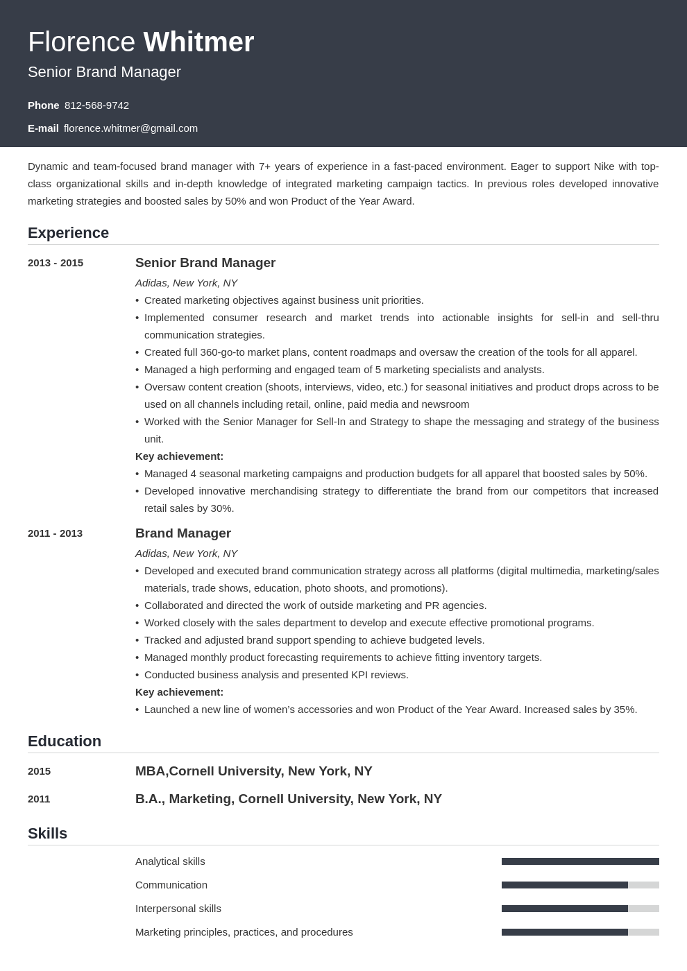brand manager resume example template influx