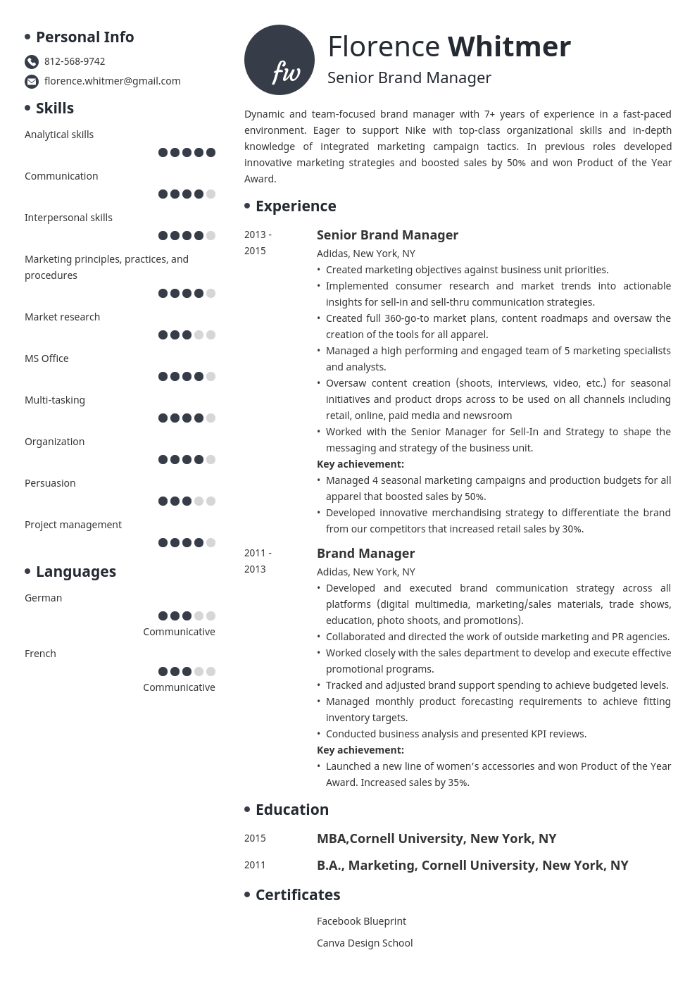 brand manager resume example template initials