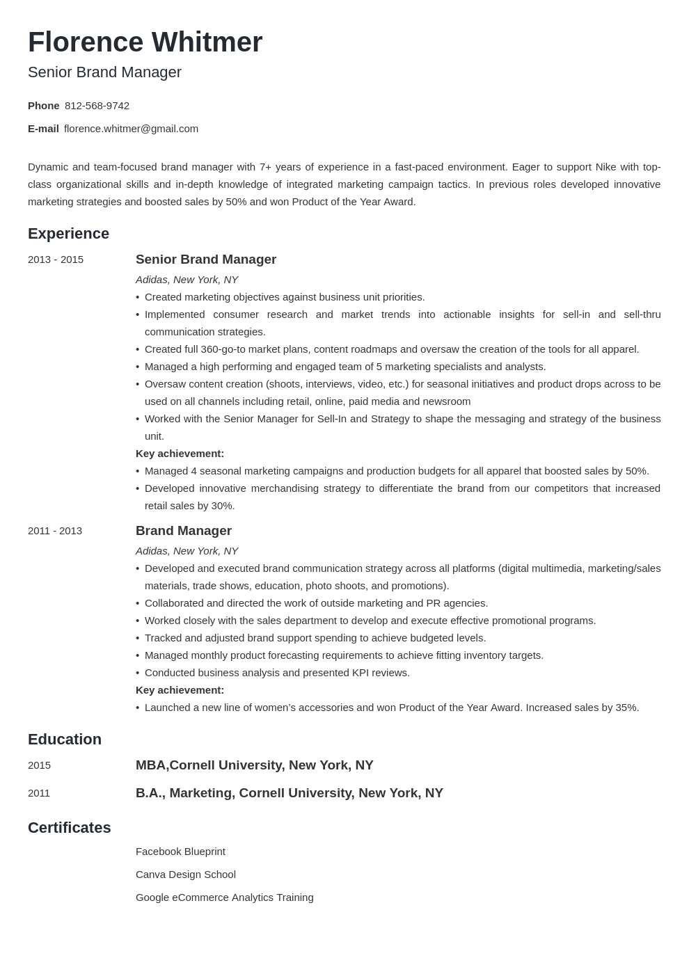 brand manager resume example template minimo