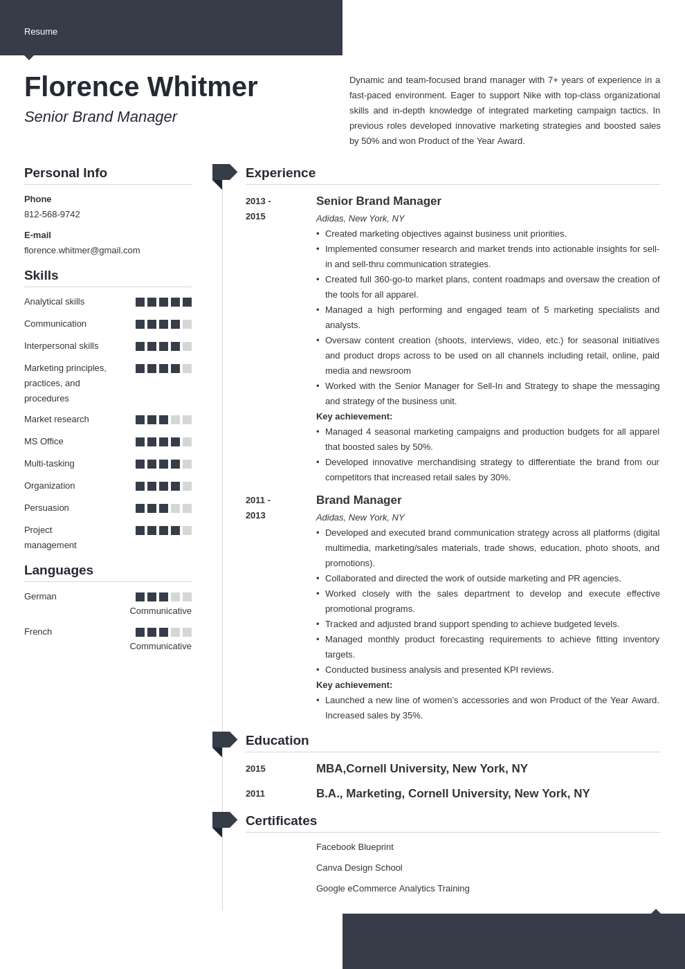 brand manager resume example template modern